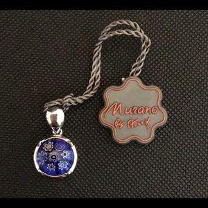 🆕Murano Millefiori Italian glass silver pendant.
